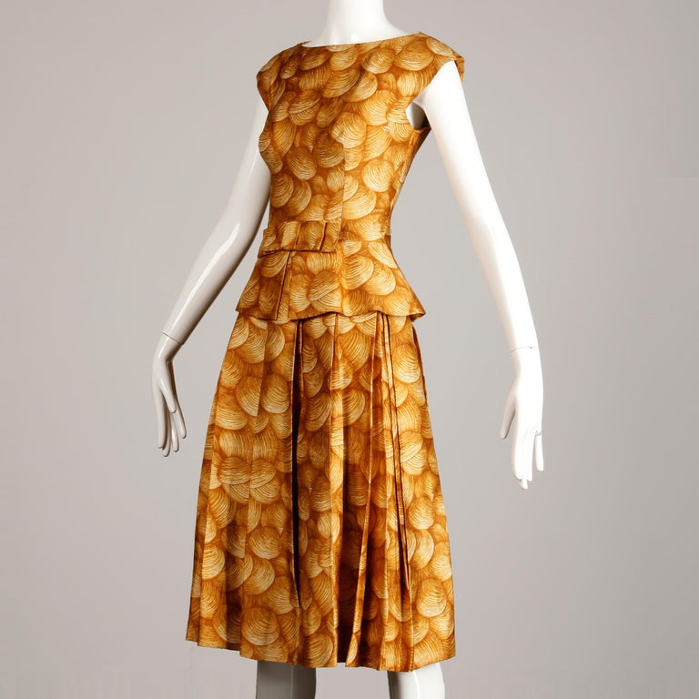 Women's 1950s Arnold Scaasi Vintage Yellow / Gold / Mustard Print Silk Cocktail Dress For Sale