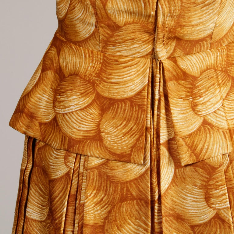 1950s Arnold Scaasi Vintage Yellow / Gold / Mustard Print Silk Cocktail Dress For Sale 1