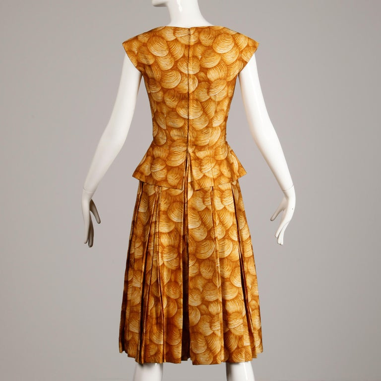 1950s Arnold Scaasi Vintage Yellow / Gold / Mustard Print Silk Cocktail Dress For Sale 2
