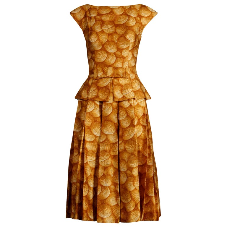1950s Arnold Scaasi Vintage Yellow / Gold / Mustard Print Silk Cocktail Dress For Sale