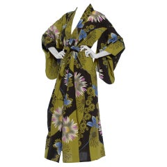 1950S Arsenic Green & Black Cotton Kimono With Purple Blue Flowers