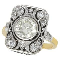 1950s Art Deco 2.08 Carat Diamond Yellow Gold Cocktail Ring