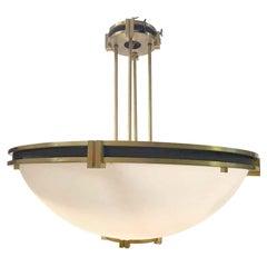 1950s Art Deco Brass Dish Pendant Light from a Manhattan Bank