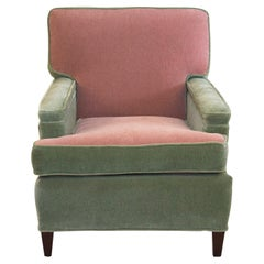 1950s Art Deco Lawson-back just reupholstered Green & Pink Mohair Club Chairs