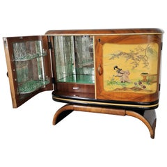 1950s Art Deco Midcentury Italian Walnut Burl and Mirror Mosaic Dry Bar Cabinet