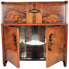 1950s Art Deco Midcentury Italian Walnut Inlay and Mirror Mosaic Dry Bar Cabinet
