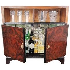 1950s Art Deco Midcentury Regency Italian Walnut, Burl & Mirror Dry Bar Cabinet