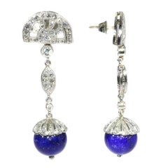 1950s Art Deco Style Long Pendant Platinum Diamond Earrings with Lapis Lazuli