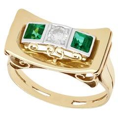 1950s Art Deco Style Tourmaline Diamond Gold Cocktail Ring
