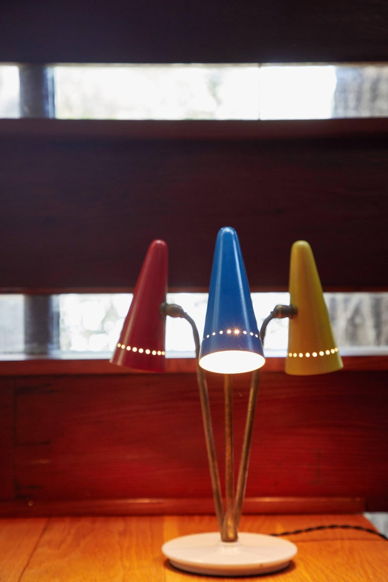 Painted 1950s Arteluce Tricolore Table Lamp For Sale