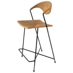 1950s Arthur Umanoff Wicker & Steel Rod High Chair, USA