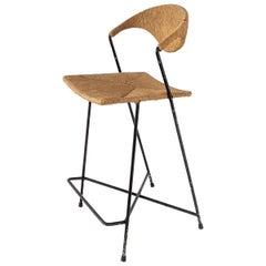 1950s Arthur Umanoff Wicker & Steel Rod High Chair, USA