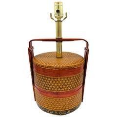 1950s Asian Grain Woven Rattan Basket Lamp