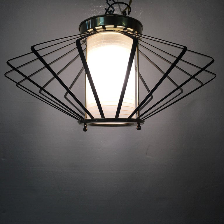 Mid-Century Modern 1950s Atomic Ceiling Mounted Light For Sale