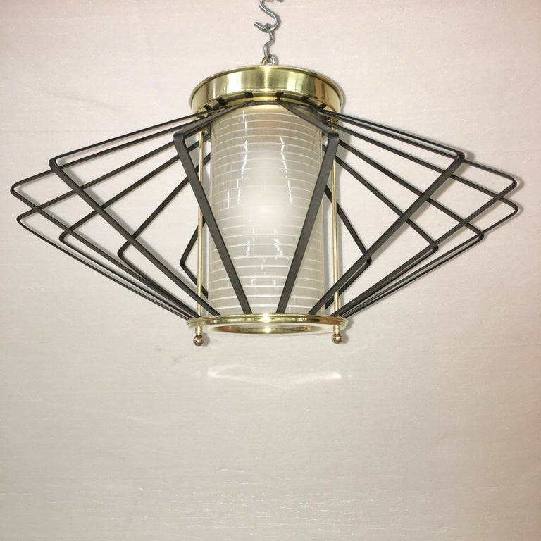 American 1950s Atomic Ceiling Mounted Light For Sale