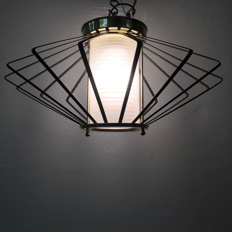 Etched 1950s Atomic Ceiling Mounted Light For Sale