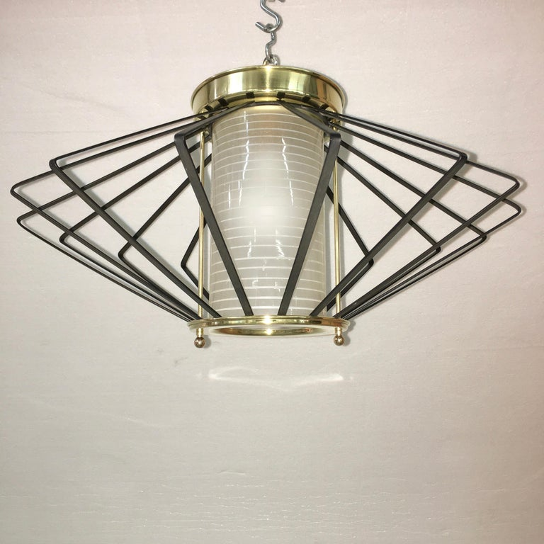 1950s Atomic Ceiling Mounted Light In Good Condition For Sale In Hingham, MA