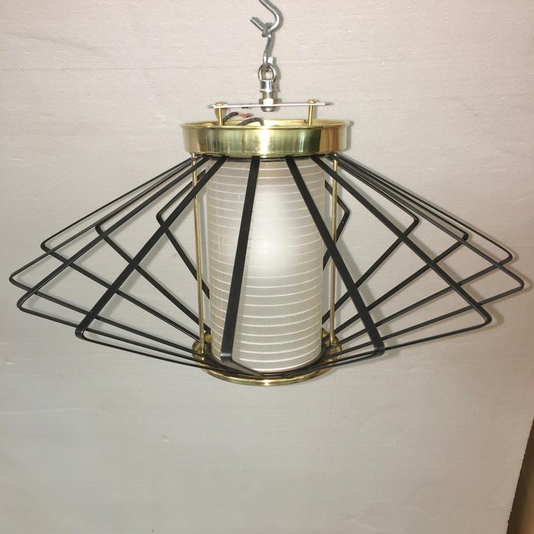 Glass 1950s Atomic Ceiling Mounted Light For Sale