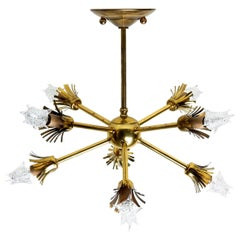 1950s Atomic Star Brass Chandelier