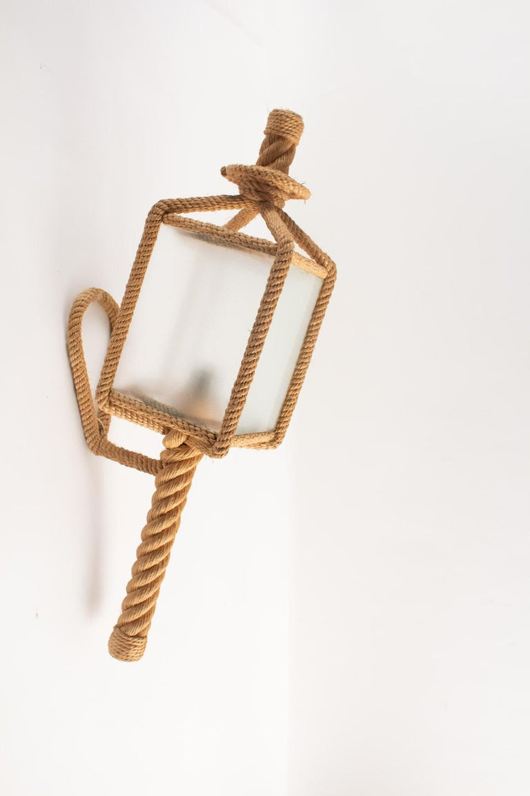 1950s Audoux & Minet Rope Wall Lantern In Good Condition For Sale In Saint-Ouen, FR