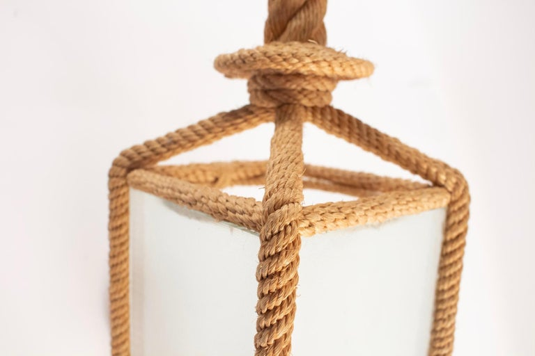 Mid-20th Century 1950s Audoux & Minet Rope Wall Lantern For Sale