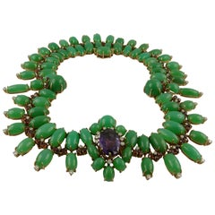 1950s Austrian Amethyst Chrysoprase Diamond and Citrine Necklace