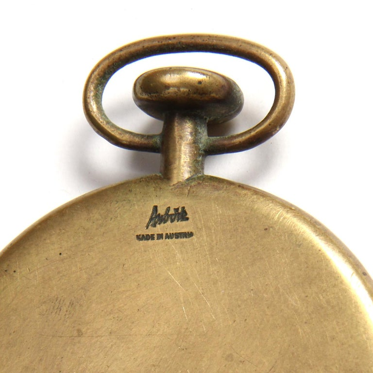 Patinated 1950s Austrian Bronze Pocket Watch Paperweight by Carl Auböck For Sale