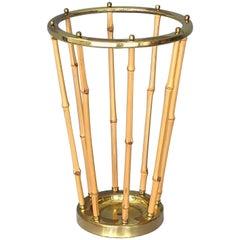 1950s Austrian Umbrella Stand Brass Bamboo, Josef Frank, Auböck, Kalmar Style