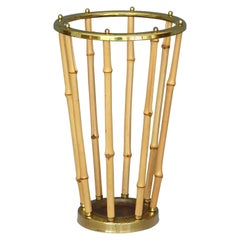Midcentury Austrian Umbrella Stand Patinated Brass Bamboo 1950s