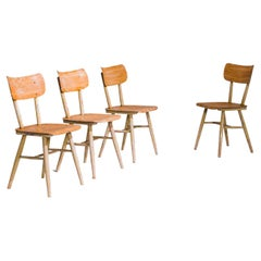 1950s Austrian Wooden Dining Chairs by Thonet, Set of Four