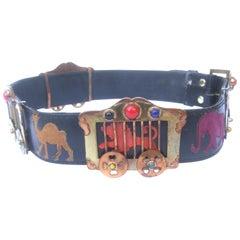1950s Avant Garde Circus Animal Themed Black Leather Womens Belt