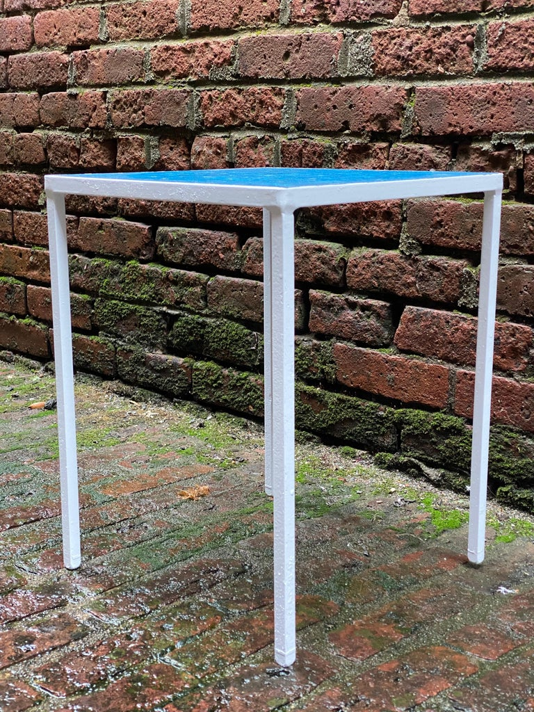 Mid-Century Modern 1950s Azure Blue Inlaid Glass Tile and Iron Table For Sale