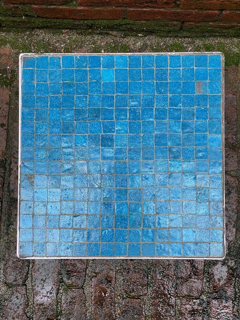 American 1950s Azure Blue Inlaid Glass Tile and Iron Table For Sale