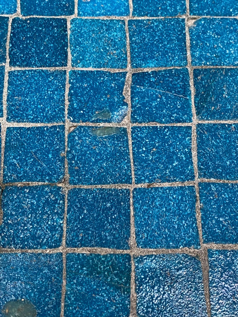 Inlay 1950s Azure Blue Inlaid Glass Tile and Iron Table For Sale
