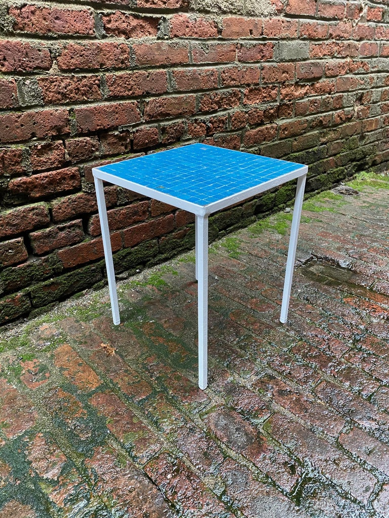 1950s Azure Blue Inlaid Glass Tile and Iron Table In Good Condition For Sale In Garnerville, NY