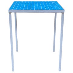 1950s Azure Blue Inlaid Glass Tile and Iron Table