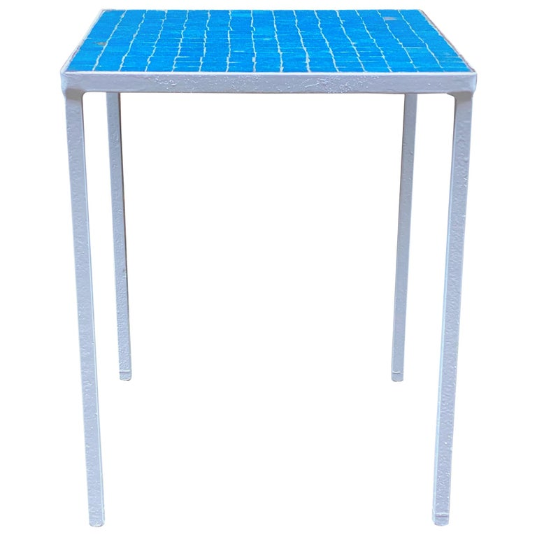 1950s Azure Blue Inlaid Glass Tile and Iron Table For Sale