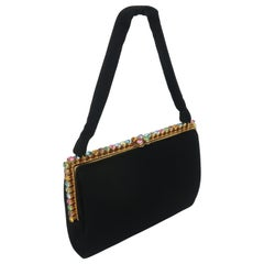 1950's Bags by Josef Black Evening Handbag With Pastel Rhinestones