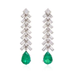 1950s Baguette Diamond and Pear-Shaped Emerald Earrings in Platinum