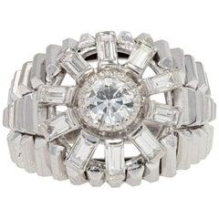 1950s Baguette Diamonds Brillant Cut Diamond 18 Karat White Gold Dome Ring