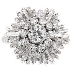 1950s Baguettes and Round Diamonds on Flower Setting Ring