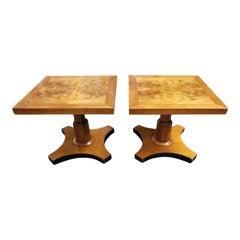 1950s Baker Furniture Pedestal Walnut Burl Bookmatched Top Side Tables, a Pair