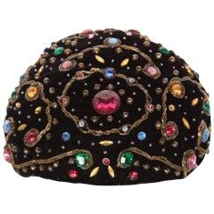 1950s Balenciaga Haute Couture Black Velvet Jewel Toque Hat