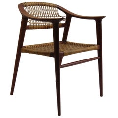 1950s Bambi Teak and Cane Dining Chair by Rolf Rastad and Adolf Relling Norway