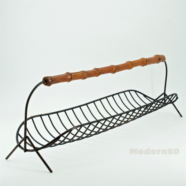 Steel 1950s Bamboo Handled Fresh Cut Flower Herb Centerpiece Long Wire Basket For Sale