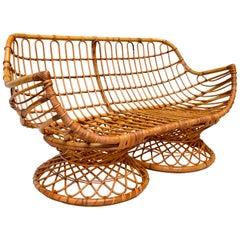 1950s Bamboo Rattan Sofa or Settee, Italy