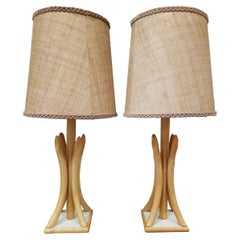 1950's Bamboo / Rattan Table Lamps