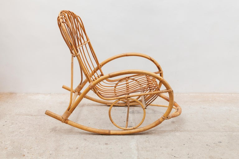 Mid-Century Modern 1950s Bamboo Rocking Chair, Italy For Sale