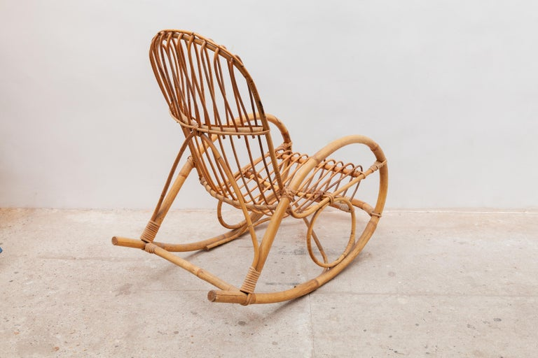 Italian 1950s Bamboo Rocking Chair, Italy For Sale