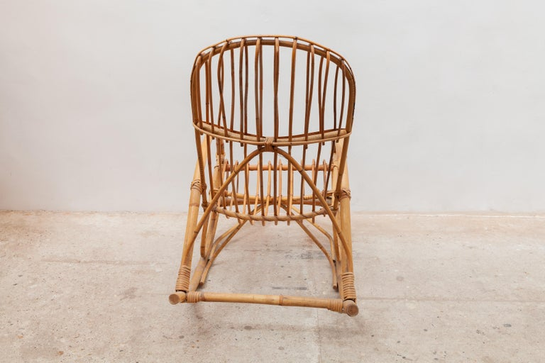 Hand-Crafted 1950s Bamboo Rocking Chair, Italy For Sale